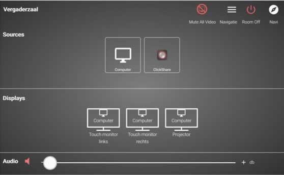 Controlepaneel voor bediening van AV-installatie