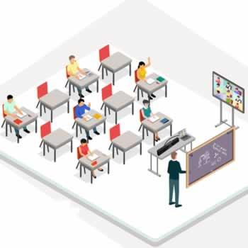 Hybride leslokaal met weergave van remote deelnemers