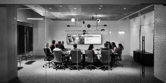 Middelgrote vergadeerzaal met videoconferencing mogelijkheid