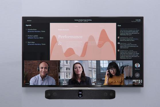 Presentatiescherm en Teams certified all-in-one videobar met Microsoft Teams front row layout